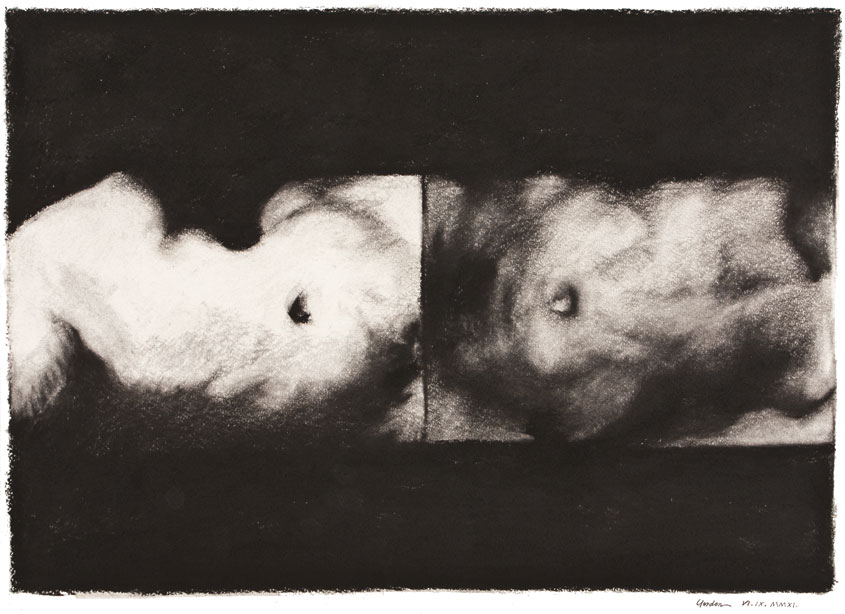 Inkjet print from charcaol drawing of two torsos
