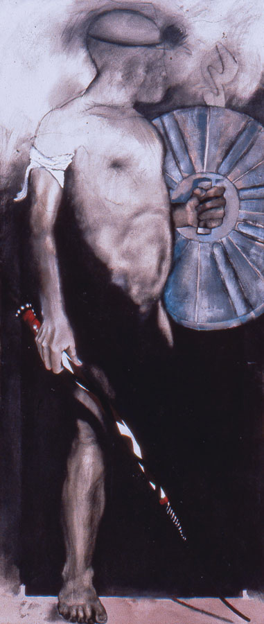Witdoek/Black State Sponsored Vigilante 1989 Oil on canvas 180 x 75 cm
