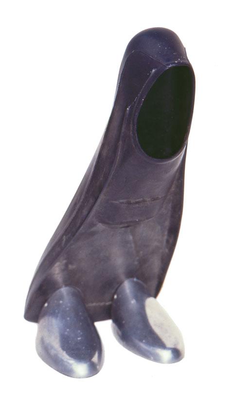 Sculpture mixed media: Rubber flipper, aluminium shoe lasts