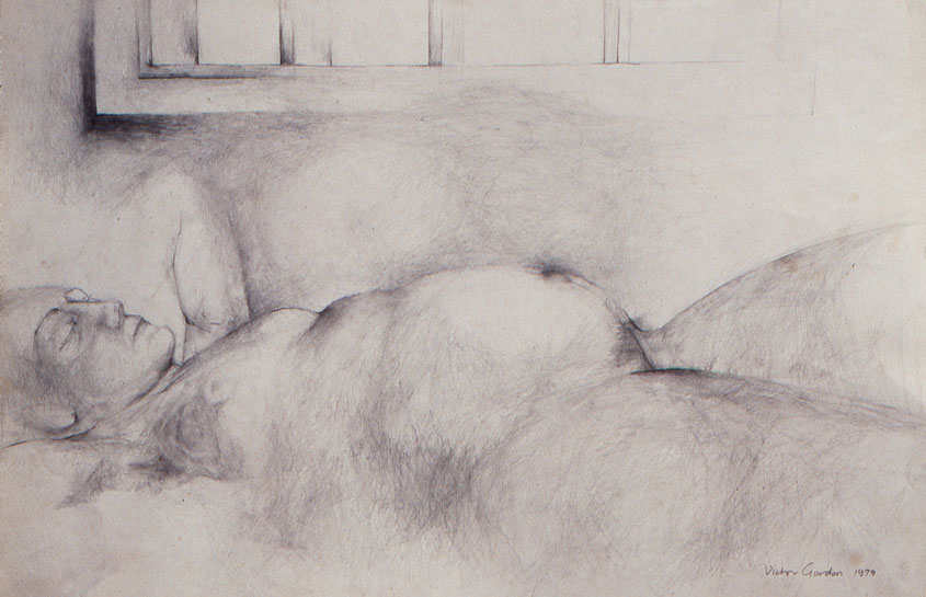 Pencil drawing of regnant reclining woman