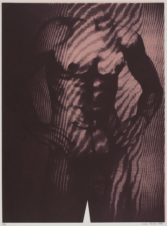 Screen print of male torso after pencil drawing.