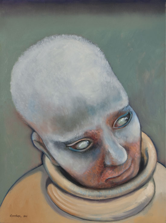 Eerie painting depiction of a female head by Victor Gordon