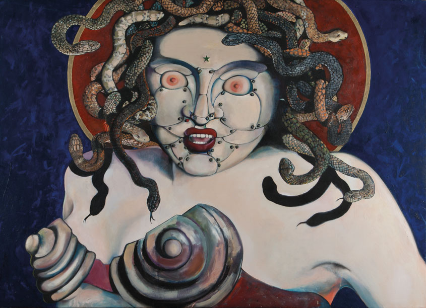 Medusa Madonna painting with Australian venomous snakes and nipples for eyes