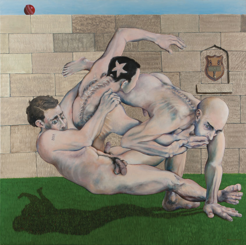 Painting of naked rugby players