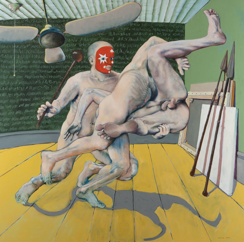 Painting based on rugby tackle with unclothed players