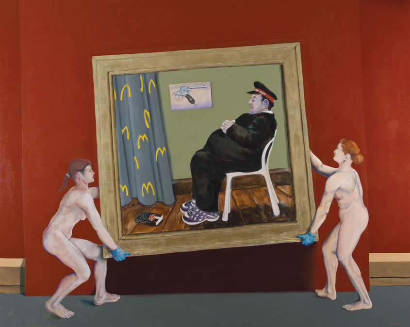 Painting about museum acquisitions by Victor Gordon