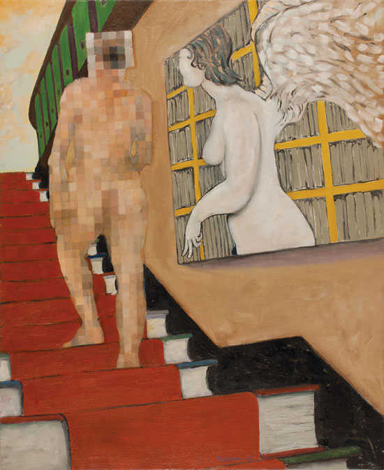 Painting of pixellated nud by Victor Gordon