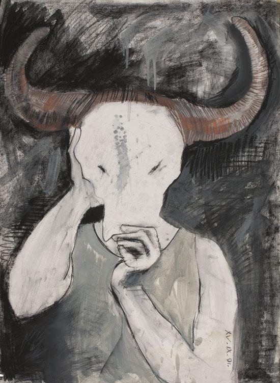 Self portrait with bull's skull