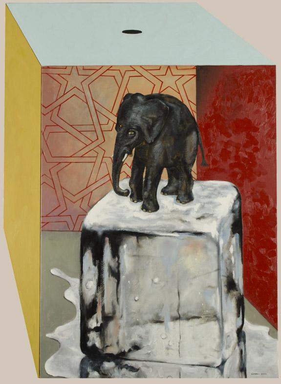 Painting elephant on melting ice cube by Victor Gordon